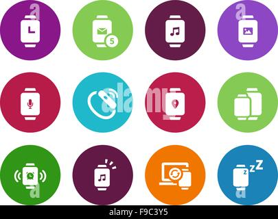 Smart watch with applications circle icons on white background. - Stock Photo