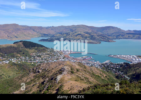 Aerial landscape view of Lyttelton inner harbour and township near Christchurch, New Zealand. - Stock Photo
