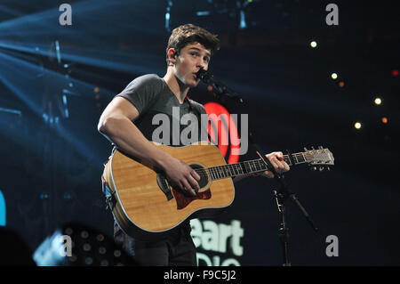 Washington, Dc, USA. 14th Dec, 2015. SHAWN MENDES performing at Hot 99.5's annual iHeart Radio Jingle Ball concert - Stock Photo