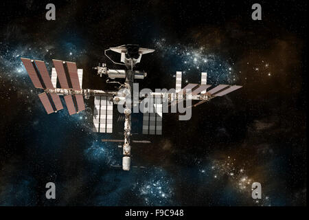 A depiction of the space shuttle docked at the International Space Station on a background of stars. - Stock Photo