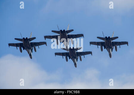 Four Spanish Air Force F-18M Hornets fly in formation during NATO's Exercise Trident Juncture, Albacete, Spain. - Stock Photo