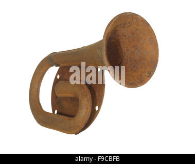 Old rusty steel car horn isolated on a white background. - Stock Photo