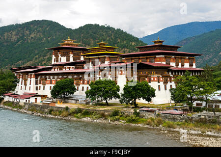 Monastery and fortress Punakha Dzong, Punakah, Bhutan - Stock Photo
