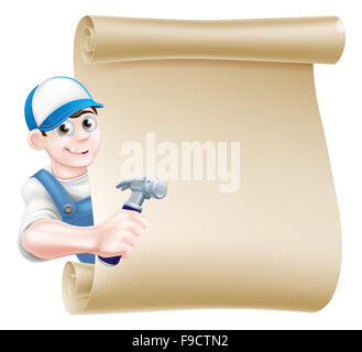 A cartoon carpenter or builder holding a hammer tool and peeking around a scroll - Stock Photo