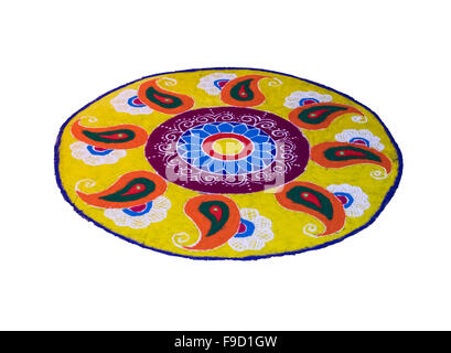 Rangoli Traditional way of decorating corridors and open veranda on auspicious occasion or to welcome guest - Stock Photo