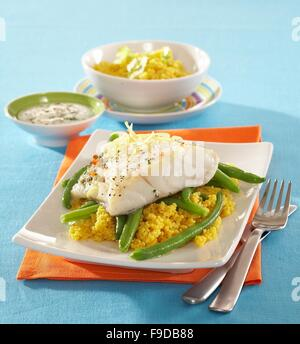 Fish Fillets with Green Beans - Stock Photo