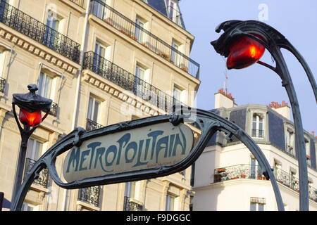 Ancient Subway Sign in Paris - Stock Photo