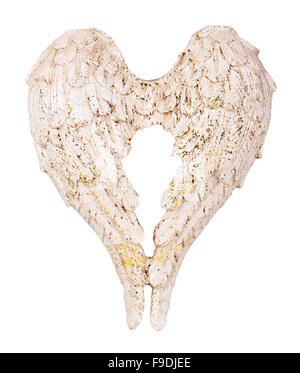 christmas angel wings white decoration isolated on white background - Stock Photo