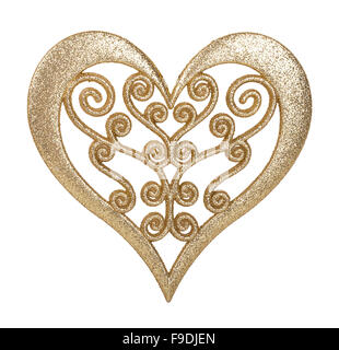 heart of gold decoration isolated on white background - Stock Photo