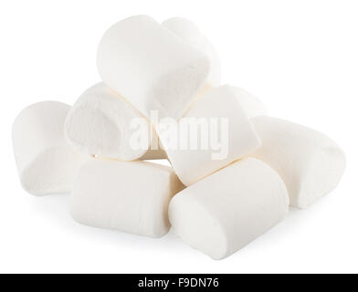 white marshmallows candy isolated on white background - Stock Photo