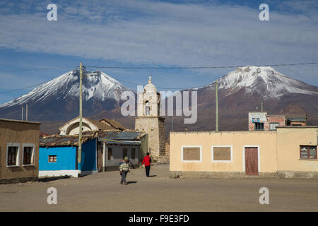 Photograph of the town square and the church in Sajama in Sajama National Park, Bolivia. - Stock Photo