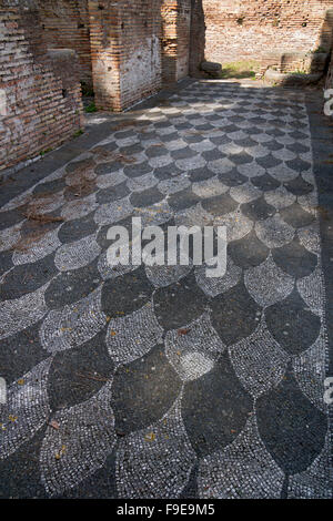 Mosaic floor in a building in the ancient Roman port of Ostia, near Rome, Italy, Europe - Stock Photo