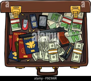 Spy suitcase with a gun, money and passports vector illustration - Stock Photo