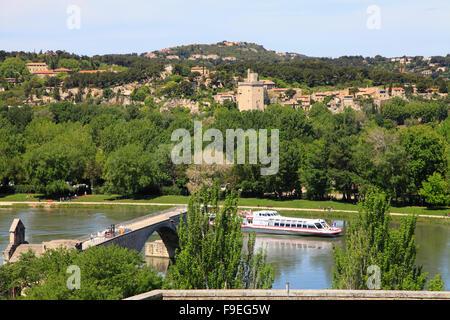 France, Provence, Avignon, Rhone River, ship, Villeneuve Lez Avignon, skyline, - Stock Photo