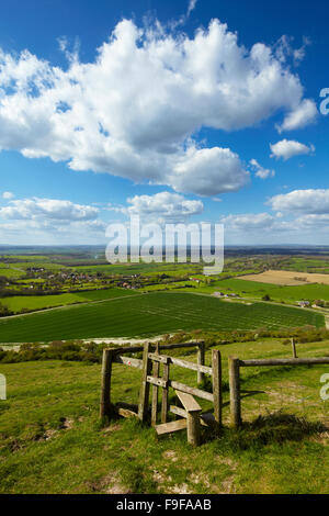 Views across the Sussex countryside from Devil's Dyke, South Downs National Park. - Stock Photo