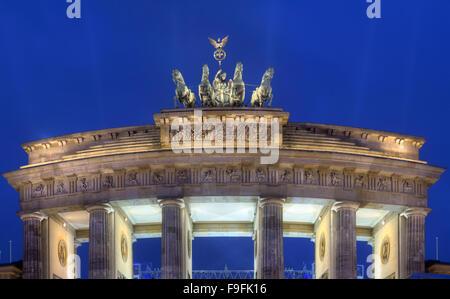 Night view of Quadriga Statue on Brandenburg Gate - Stock Photo
