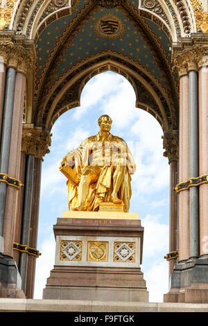 Close up of details on the Albert Memorial built in memory of Prince Albert, in Kensington Gardens, London, UK - Stock Photo