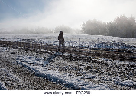 Early morning walk in the mountains - Stock Photo