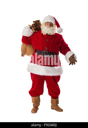 Santa Claus with his big sack Full-Length Portrait - Stock Photo