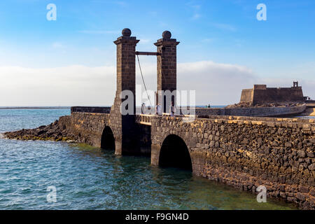 Puente de las Bolas, drawbridge in front of the fort, Castillo de San Gabriel, Arrecife, Lanzarote, Canary Islands, - Stock Photo