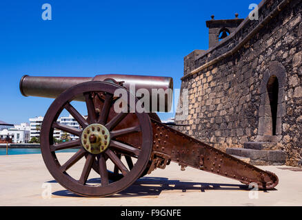 Cannon, fort, Castillo de San Gabriel, Arrecife, Lanzarote, Canary Islands, Spain - Stock Photo