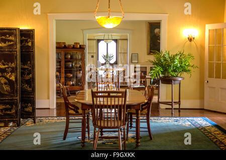 Dining room inside George Wilcox's home in Lihue, Kauai - Stock Photo