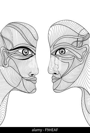 Abstract graphic design with man and woman in love, looking at each other. Can use for posters cards, covers, illustrations - Stock Photo
