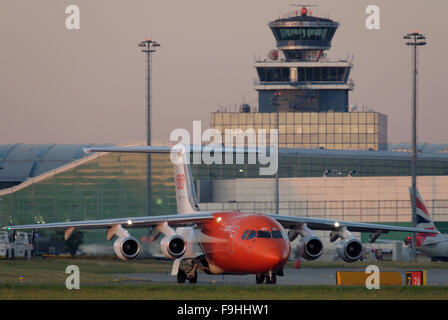 Morning Departure of a BAe-146 of TNT from Prague - Stock Photo