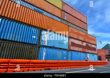 CHRISTCHURCH - DEC 04 2015: A shipping container retaining wall in Christchurch.Shipping containers used in the - Stock Photo