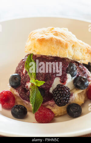 mixed berry shortcake, Succulent Cafe, Solvang, California - Stock Photo