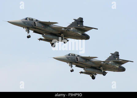 Two Czech Air Force Saab JAS 39 Gripen in flight - Stock Photo