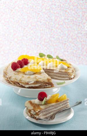 Pancake Cake with Curd Cream - Stock Photo