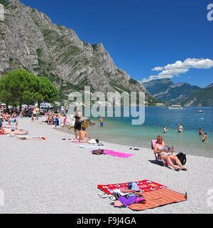 Lago di Garda, Beach, Italy - Stock Photo