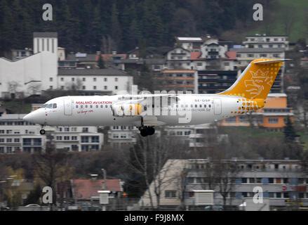 Malmo Aviation BAe 146-300 (Avro RJ100) Approaching the Innsbruck Airport - Stock Photo
