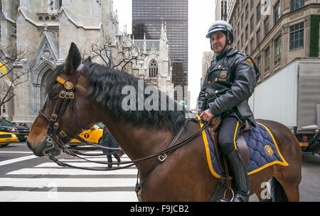 Mounted Policeman on Fifth Avenue in New York City - Stock Photo