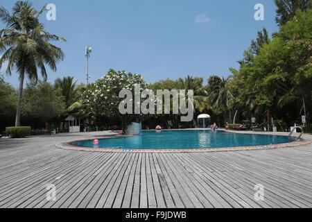 Swimming pool at Chaaya Island Dhonveli, resort on Kanuhuraa, 20 km NE of Male, Maldives, Indian Ocean. - Stock Photo