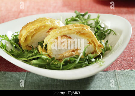 Fish Cream Baked in Pastry - Stock Photo