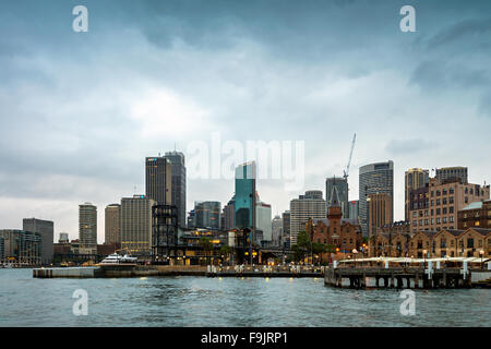Sydney, Australia - November 7, 2015:  Campbells Cove towards Campbells Wharf and the former warehouses at The Rocks. - Stock Photo