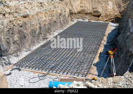 Reinforcement cage at the bottom of the pit - Stock Photo