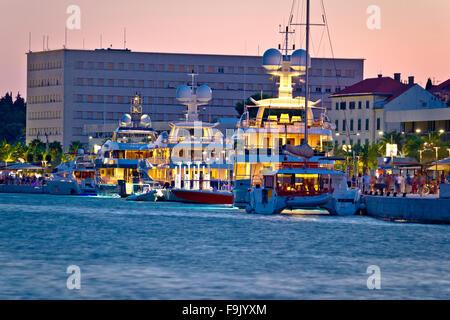 Luxury yachts on Split waterfront evening view, Dalmatia, Croatia - Stock Photo