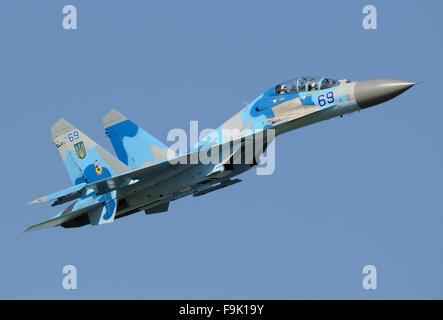 Ukraine Air Force Sukhoi Su-27 in flight - Stock Photo