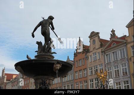 neptune's fountain at long market (dlugi targ), gdansk, poland - Stock Photo