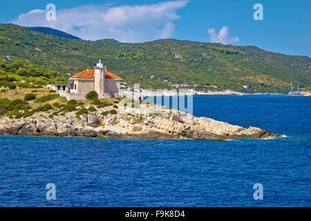 Island of Vis lighthouse view, Dalmatia, Croatia - Stock Photo