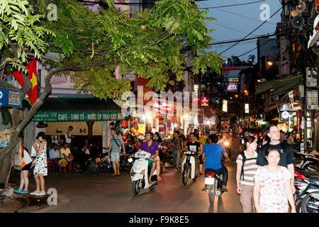 night time scene in the streets of Hanoi old quarter,Vietnam,Asia - Stock Photo