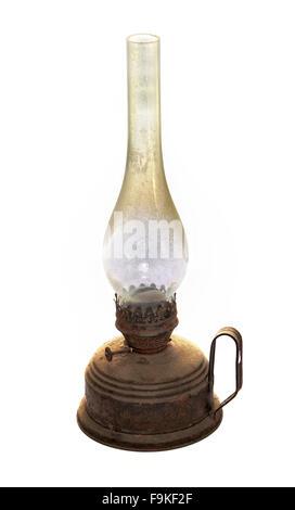Old kerosene lamp isolated on white background - Stock Photo