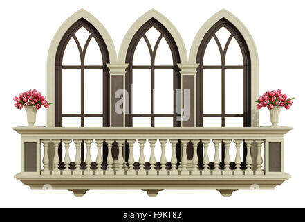 Classic balcony balustrade isolated on white 3d for Balcony clipart