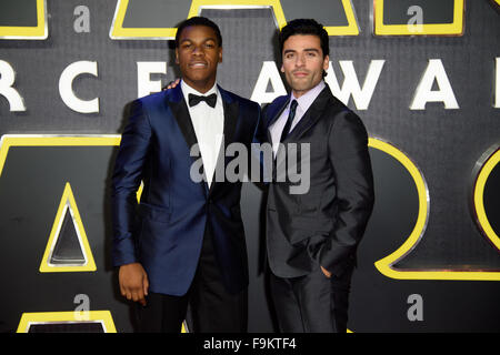 John Boyega and Oscar Isaac pose at the 'Star Wars: The Force Awakens ' premiere in London - Stock Photo