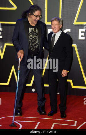 Peter Mayhew and Harrison Ford at the 'Star Wars: The Force Awakens ' premiere in London - Stock Photo