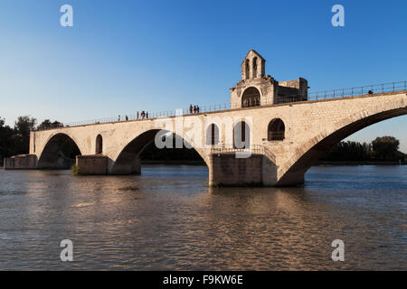 St Benezet Bridge over the Rhone river in Avignon, France. - Stock Photo