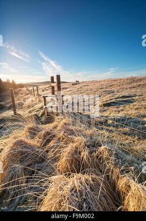 A cold frosty morning at an old stile on Bodmin Moor in Cornwall - Stock Photo